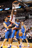 Dallas Mavericks v Miami Heat - Game One, Miami, FL - MAY 31: Chris Bosh, Peja Stojakovic and Brend Photographic Print by Mike Ehrmann