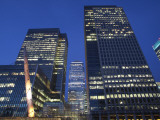 England, London, Docklands, Canary Wharf, Office Buildings at Night Photographic Print by Steve Vidler