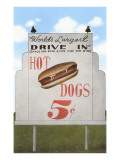 Drive-In, Five Cent Hot Dog Sign, Roadside Retro Art