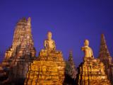 Thailand, Ayutthaya, Ayutthaya Historical Park, Dusk at Wat Chai Wattanaram Photographic Print by Steve Vidler