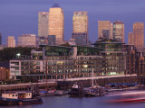 England, London, Docklands, Canary Wharf Skyline Photographic Print by Steve Vidler