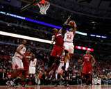 Miami Heat v Chicago Bulls - Game Five, Chicago, IL - MAY 26: C.J. Watson and Chris Bosh Photographic Print by Mike Ehrmann