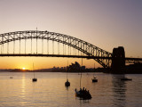 Sydney Opera House and Sydney Harbour Bridge at Sunset, Sydney, New South Wales, Australia Photographic Print by Steve Vidler