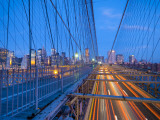 USA, New York, Manhattan, Downtown Financial District and Brooklyn Bridge Photographic Print by Alan Copson