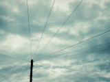 Black and White Telegraph Pole and Wires Photographic Print by Jon Arnold