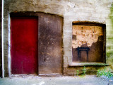 Derelict Door and Window with Graffiti Photographic Print by Clive Nolan