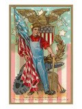 Labor Day - Worker, Flag, Eagle & Tools, Poster