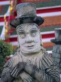 Thailand, Bangkok, Wat Pho, Statue Depicting Early European Traveller Photographic Print by Steve Vidler