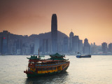 Hong Kong Island Skyline and Tourist Boat Victoria Harbour, Hong Kong, China Photographic Print by Ian Trower