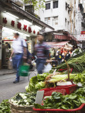 Vegetable Stall on Peel Street, Central, Hong Kong, China Photographic Print by Ian Trower