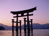 Miyajima Island / ItsUKushima Shrine / Torii Gate / Sunset, Honshu, Japan Photographic Print by Steve Vidler