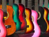 USA, California, Los Angeles, El Pueblo De Los Angeles, Guitars Fotoprint van Alan Copson