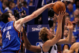 Oklahoma City Thunder v Dallas Mavericks - Game Five, Dallas, TX - MAY 25: Nick Collison and Dirk N Photographic Print by Tom Pennington
