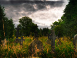 Gravestones at Cathays Cemetery, Cardiff Wales Photographic Print by Clive Nolan