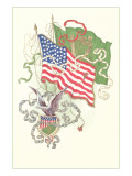 American and Irish Flags Print