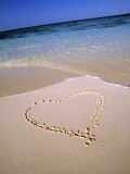 Heart Drawn on Snady Beach, Maldives, Indian Ocean Photographic Print by Jon Arnold