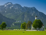 Germany, Bavaria (Bayern), Neuschwanstein Castle and Kolomanskirche Photographic Print by Alan Copson
