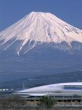 Mount Fuji and Bullet Train (Shinkansen), Honshu, Japan Photographic Print by Steve Vidler