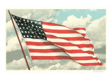Flag with Sky Background Kunstdruck