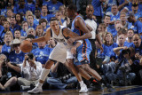 Oklahoma City Thunder v Dallas Mavericks - Game Five, Dallas, TX - MAY 25: Shawn Marion and Kevin D Photographic Print by Glenn James