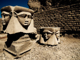 Statues of the Egyptian Goddess Hathor Photographic Print by Clive Nolan