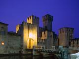 Lake Garda / Rocca Scaligera Castle / Night View, Sirmione, Veneto, Italy Photographic Print by Steve Vidler