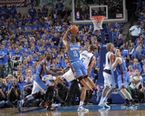 Oklahoma City Thunder v Dallas Mavericks - Game Five, Dallas, TX - MAY 25: Russell Westbrook and Ty Photographic Print by Glenn James