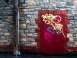 Derelict Door with Graffiti and Lampost Photographic Print by Clive Nolan