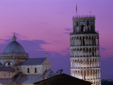 Leaning Tower (Torre Pendente) and Duomo / Night View, Pisa, Tuscany (Toscana), Italy Photographic Print by Steve Vidler