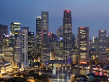 Singapore, City Skyline at Night Photographic Print by Steve Vidler