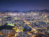 City Skyline of Kowloon and Hong Kong Island from Lion Rock, Hong Kong, China Photographic Print by Ian Trower