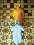 Priests Standing in Caodai Great Tmple, Tay Ninh, Vietnam Photographic Print by Ian Trower