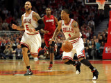 Miami Heat v Chicago Bulls - Game Five, Chicago, IL - MAY 26: Derrick Rose and Carlos Boozer Photographic Print by Mike Ehrmann
