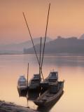 Boats on Mekong River at Sunset, Luang Prabang, Laos Photographic Print by Ian Trower