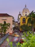 Colombia, Bolivar, Cartagena De Indias, Plaza Santa Teresa, Horse Cart and San Pedro Claver Church Photographic Print by Jane Sweeney