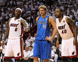 Dallas Mavericks v Miami Heat - Game One, Miami, FL - MAY 31: LeBron James, Dirk Nowitzki and Udoni Photographic Print by Mike Ehrmann