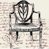 Script Arm Chair Print by Walter Robertson