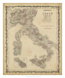 Johnson's Map of Italy Giclee Print