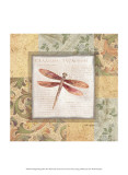 Collaged Dragonflies II Poster by Linda Grayson