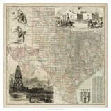 Map of Texas Giclee Print