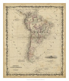 Johnson's Map of South America Giclee Print