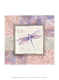 Collaged Dragonflies III Prints by Linda Grayson