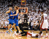 Dallas Mavericks v Miami Heat - Game Two, Miami, FL - JUNE 02: Dirk Nowitzki, Jason Kidd and Dwyane Photographic Print by Garrett Ellwood