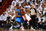 Dallas Mavericks v Miami Heat - Game Two, Miami, FL - JUNE 2: Dwyane Wade and DeShawn Stevenson Photographic Print by Garrett Ellwood