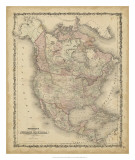 Johnson&#39;s Map of North America Poster