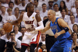 Dallas Mavericks v Miami Heat - Game Two, Miami, FL - JUNE 02: Dwyane Wade and Jason Kidd Photographic Print by Ronald Martinez