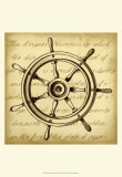 Sepia Captain's Wheel Poster by Ethan Harper