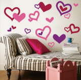 Hearts - Light Pink, Purple, Red - Duvar Çıkartması