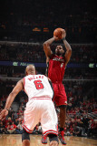 Miami Heat v Chicago Bulls - Game Five, Chicago, IL - MAY 26: LeBron James and Keith Bogans Photographic Print by Nathaniel S. Butler