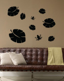 Black Tropical Leaves with Frogs Wall Decal